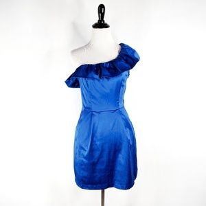 Lulu's cobalt blue one shoulder Valentine's dress